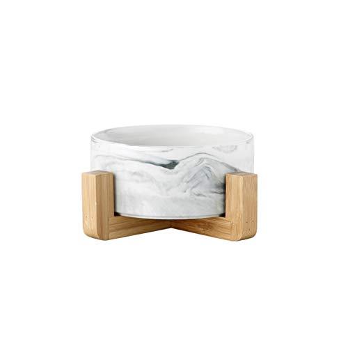 Tazón Doble de cerámica de mármol para Perros Gato Cachorro Agua Alimento Alimentador Pequeño Dispensador Pequeño Dispensador Multifunción Producto Pet (Color : Gray Stand, Size : 850ML)