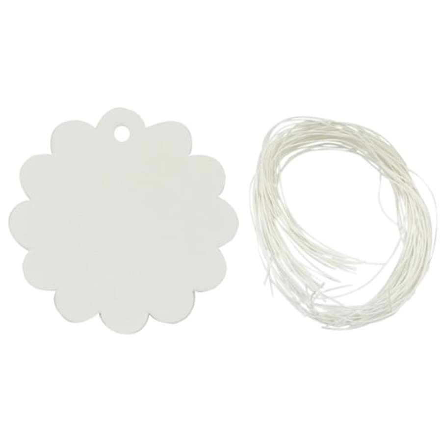 Allydrew 50 Gift Tags/Kraft Hang Tags with Free Cut Strings for Gifts, Crafts & Price Tags - White Flower