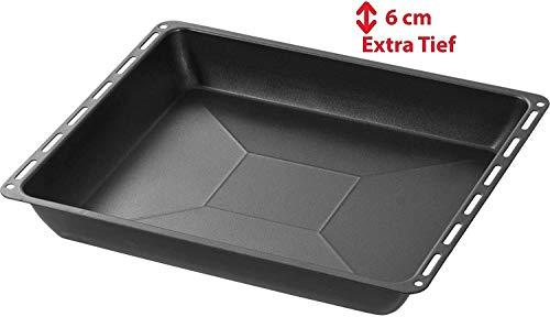 ICQN Extra tiefes mit Antihaft-Beschichtung Backblech Non-Stick | Passend für Bosch Siemens Neff Constructa Profilo Backofen | Kuchenblech | Emaille-Boden | 455x377x60mm