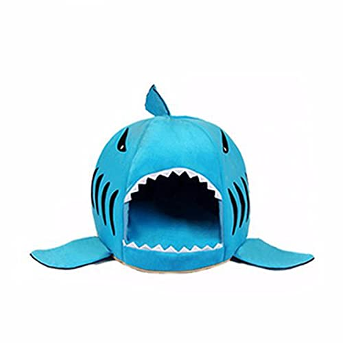 Cat Cave Bed Cute Shark Pet Cat Dog Bed Novelty Puppy Pet Nest Tent House Indoor Sleeping Bag For Small Dogs Kitten Bunny Hamster,A,58 * 58 * 50
