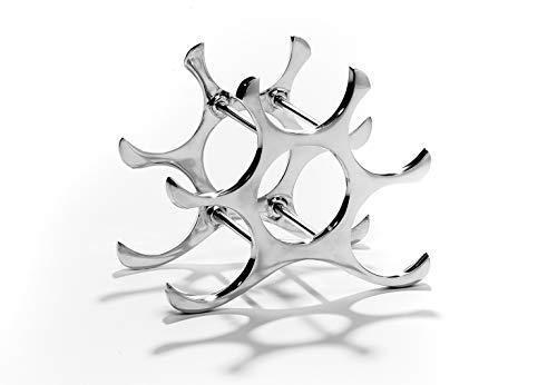 Kobolo Weinregal Flaschenhalter Circle - Metall poliert - Silber - für 6 Flaschen