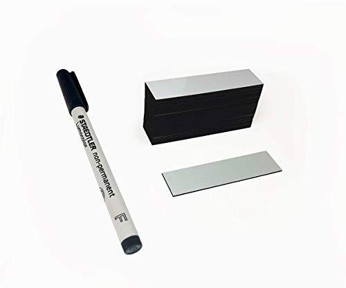 Magnetetiketten | Magnetstreifen beschreibbar 70mm x 20mm + GRATIS Non-Permanent-Stift von STAEDTLER - Ideal für Lager, Regale und Beschriftungen