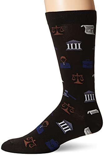 K. Bell Men's Jobs and Occupations Novelty Crew Socks, Laywer (Black), Shoe Size: 6-12