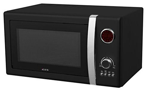 iCES Microondas eléctrico de 25 litros en negro, 900 W, 5 niveles diferentes, con temporizador digital y función de descongelación, bloqueo de seguridad