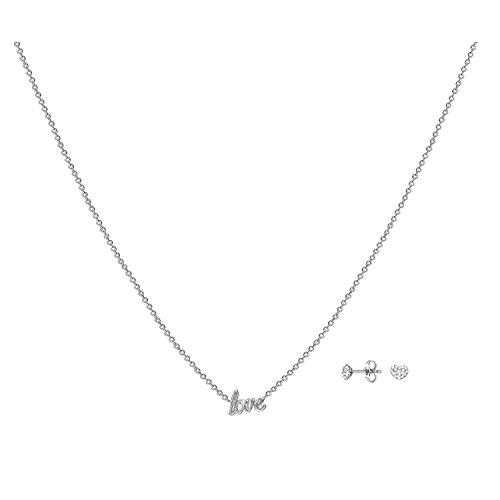 ESPRIT Damen-Schmuckset Halskette + Ohrringe JW52882 & Ohrstecker SET Messing rhodiniert Zirkonia transparent-ESSE01031A420