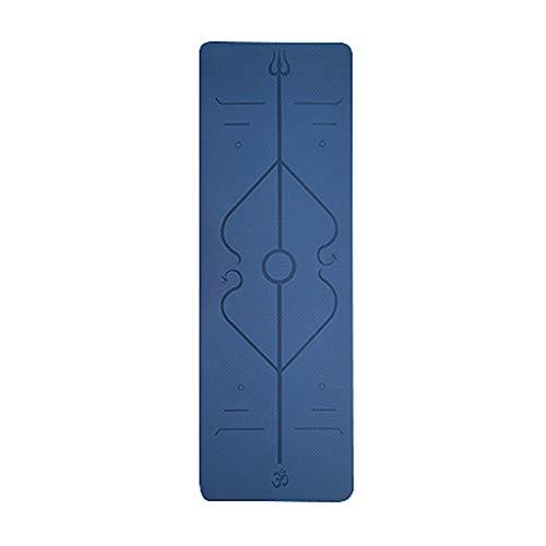 Andouy Komfort-Gymnastikmatte Yogamatten Hautfreundliche Fitnessmatte in 183X61X0,6CM mit Ausrichtungslinien Phtalatfrei - Sportmatte für Yoga Pilates(183X61X0.6CM.Dunkelblau)