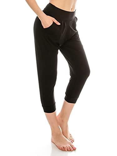 EttelLut Harem Jogger Yoga Exercise Loose Fit Casual black harem pants for women with Side Pockets Black XL