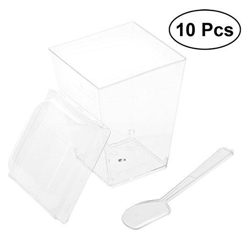BESTOMZ 10 Sets 150ML Mini Tazas de postre - Tazones y cucharas de aperitivo, pequeños suministros de catering Vasos de plástico Parfait Tumblers Shooters (MY-5875)