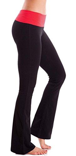 Hollywood Star Fashion Foldover Kontrast Taille Bootleg Flare Yoga-Hose (Large, Schwarz/Rot)