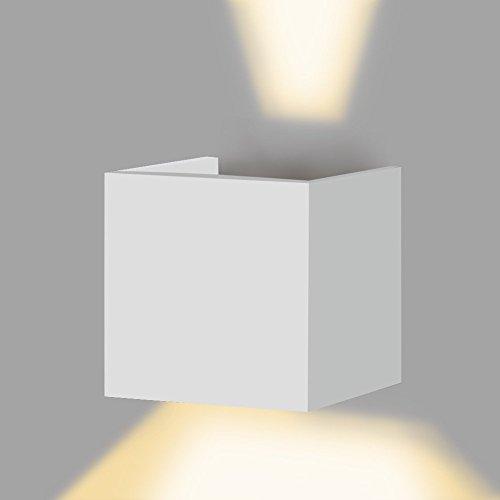 APPLIQUE LED CUBO CON ANGOLO LUCE REGOLABILE UP DOWN BIANCO MODERNO LUCE NATURALE IMPERMEABILE DA INTERNO ED ESTERNO LAMPADA DA PARETE IN ALLUMINIO DA 6 W LED A UP DOWN