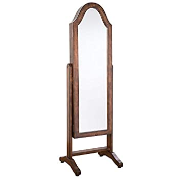 Hives and Honey Free Standing Jewelry Cabinet Full-Length Mirror Jewelry Armoire with Bell Shape Jewelry Organizer for Rings Earrings Bracelets Cosmetics Walnut
