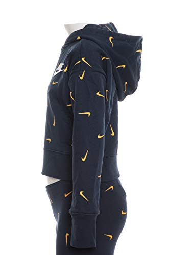 Nike Mädchen Sportswear Crop AOP Hoodie, Obsidian/University Gold/White, M