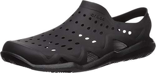 Crocs mens Swiftwater Wave Sandal, black/black, 11 M US