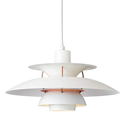 E27 Designer Pendelleuchte Esszimmer Lampe Modern Kreativ Hängelampe Höhenverstellbar Weiss Deckenlampe Schlafzimmer Leuchte Aluminum für Cafe Esstisch Küche Restaurant Φ 50CM