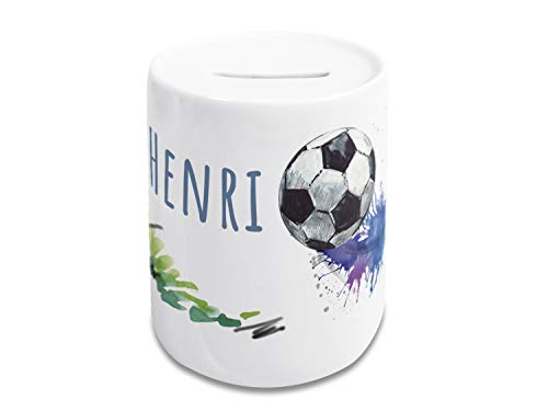 GRAZDesign Spardose Fußball mit Name, Kinder Jungen, personalisiertes Geschenk Geburtstag, Weihnachten, Taufe