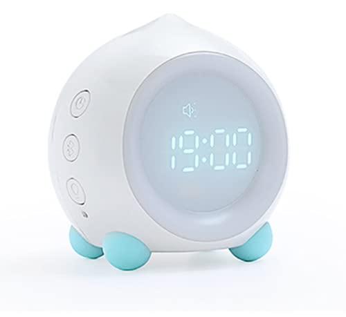 shihang 2000 Mah Reloj Despertador Digital De para Niños, Reloj Despertador para Niños Y Niñas con Luz Nocturna, Lindo Reloj Despertador para Niños con Cabecera Bluetooth,Blanco