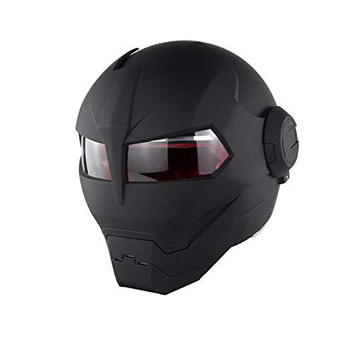 MMGIRLS Matte Black Personality Iron Man Motorradhelm - Modularer Klapphelm D.O.T-zertifiziertes Straßenrennen Cross Country-Spiel Casco Moto Flip Open Face Mask,M