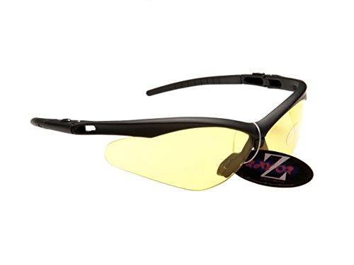 Rayzor Professionnel léger UV400 Noir Sport Wrap Ski Lunettes de Soleil, avec Une lumière Améliorer Clair Jaune Anti-reflet lentille.