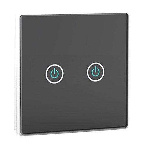 Xligo - Interruptor de pared con mando a distancia (100 a 240 V, 2 canales, 2 vías, control remoto inalámbrico, panel de interruptor de luz + 2 receptores)