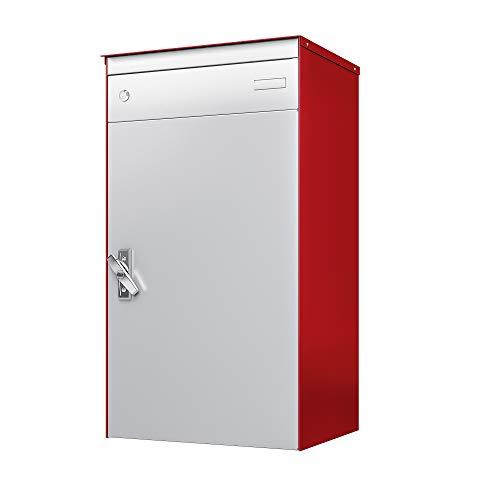sbox 17 Briefkasten, Briefkasten mit gesichertem Paketschliessfach, einfache Selbstmontage, Hochwertiges Aluminium, 440x800x340mm, Handgefertigt (Feuerrot (RAL 3000) & Weissaluminium (RAL 9006))