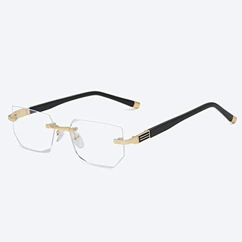 2021 gafas de lectura de nuevos hombres y mujeres, marcos sin montura cortados de diamante, lente de resina de alta definición antifatiga y vasos ópticos anti-azules, dioptrías +1.00 a +3.00,Oro,+1.50