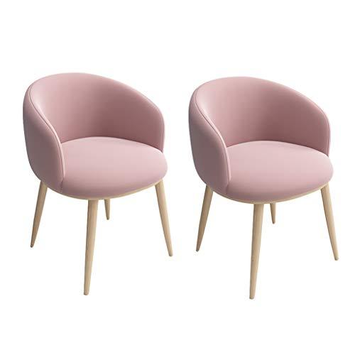 ZYXF Pack de 2 Sillas de Comedor Soft Retro Velvet Cushion en Estilo Retro escandinavo,sillón con el Estilo Madera Metal Resistente Patas (Color : Pink)