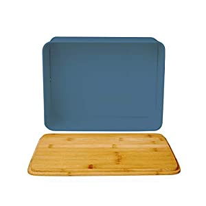 Lumaland Bread Bin with Bamboo Lid - Blue