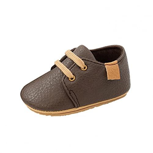 Zapatos para bebé de 6 a 12 meses, zapatos para aprender a andar, para niñas, de piel, con suelo suave, con cordones, para bebé, con suelo suave, marine, 22