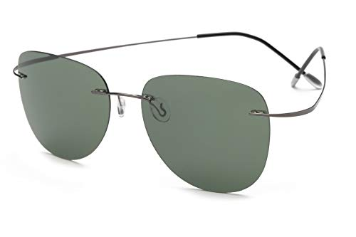 TL-Sunglasses Silueta de Titanio 100% Gafas de Sol Polaroid sin Reborde Super Ligero Hombres Polaroid Gafas de Sol polarizadas Gafas de Titanio,ZP2117 C2