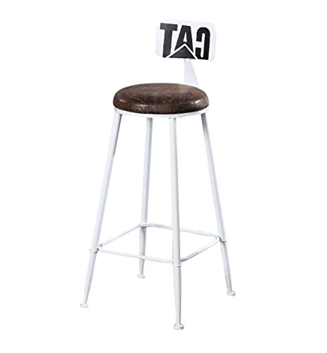 Sgabello alto Cucine bar Sedia pranzo Sgabello colazione |Sedie alte Sgabello bar Sedia bancone Sedia per il tempo libero Design retrò sgabello bar (sedile in PU) (Colore: bianco, Dimensioni: 85 cm