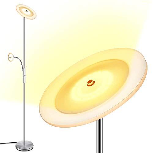 LED Deckenfluter, Dimmbar Stehleuchte Modern Standleuchte 18W 3000K Warmweiß Stehlampe mit 5W Leselampe [40000 Stunden Lebensdauer] für Wohnzimmer und Schlafzimmer - 180cm Höhe [Energieklasse A++]