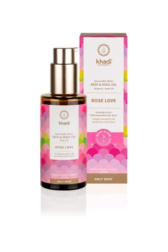 khadi Ayurvedisches Elixier Skin & Soul Oil I ROSE LOVE I Luxuriöses Schönheitsöl, verwöhnend, regenerierend & pflegend I 100% natürlich & vegan I Zertifizierte Naturkosmetik I...