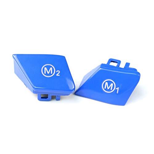 Parte del volante Steering Wheel Moda Sport M1 / M2 Moda pulsante interruttore di copertura Trim, Adatto for BMW F30 F34 F15 F16 2014-2018 (Color : Blue)