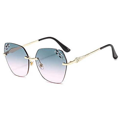 JINZUN Gafas de Sol de Metal sin Montura Caja de Gafas de Sol de Borde Cortado Gafas de Sol de Moda Marco Dorado Anti-Ultravioleta Verde Superior y Polvo Inferior