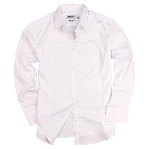 Urban Boundaries Womens Basic Tailored Long Sleeve Cotton Button Down Work Shirt (White, X-Large)