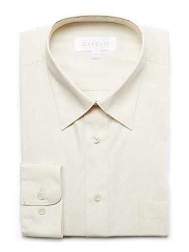 Marquis Men's Ecru Off White Regular Fit Big & Tall Size Dress Shirt N 24, S 38-39