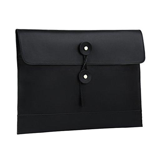 Leathario Bolso de Mano Cuero Vintage Portafolio Funda para A4 Documentos Archivo Organizador Sobre de Trabajo Portátil de 9.7 Pulgadas Negro