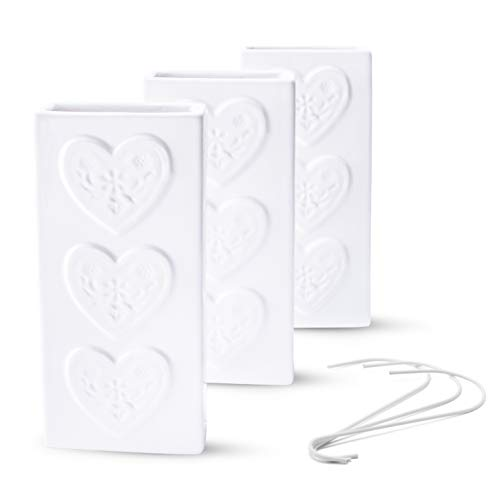 Ligano Heizkörper Luftbefeuchter im Landhaus-Stil – Keramik Wasserverdunster für die Heizung – 3 Stück