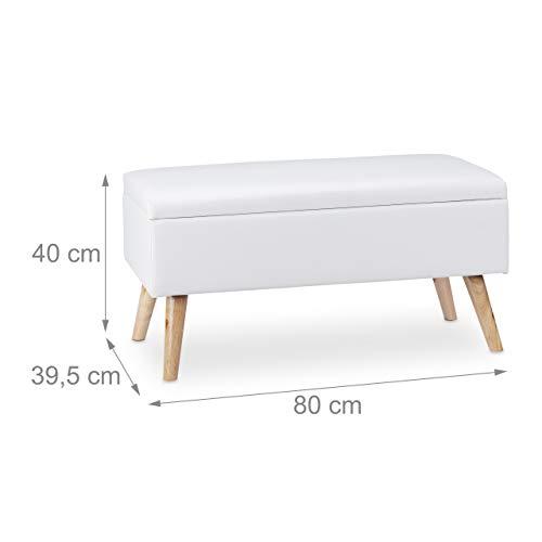 Relaxdays Sitzbank mit Stauraum, 40 L, gepolstert, Holzbeine, Truhenbank Kunstleder, HxBxT: 40 x 80 x 39,5 cm, weiß, Größe - 4