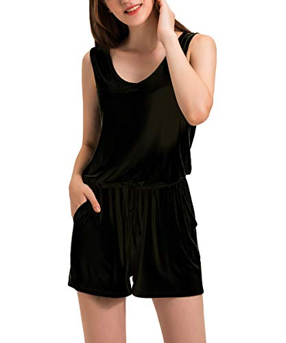 Dreamskull Jumpsuit Overall Damen Frauen Sommer Kurz Hosenanzug Romper Einteiler Ärmellos Elegant Sexy mit Taschen V Ausschnitt Strand Casual Locker Lässig Schwarz M