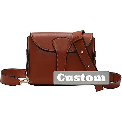 Bolsos personalizados de nombre personalizado Bolsa de organizador de cuero genuino Mini (Color : Brown, Size : One size)