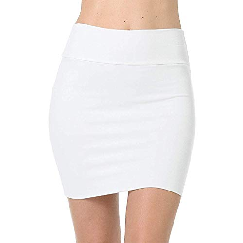 SALUCIA Damen Mini Bleistift Rock Hohe Taille Elastisch Unifarben Kurz Röcke Sexy Figurbetonte Minirock Skirt