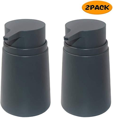 Topsky Seifenspender mit Kunststoffpumpe, 325 ml, Flüssigseifenspender, rostfreie Pumpe für Küche und Bad, ideal für Lotionen, ätherische Öle, flüssige Seifen, 2 Stück grau