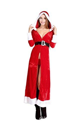 MissFox Donna Mantello con Cappuccio da Donna Costume Partito Natale Rosso