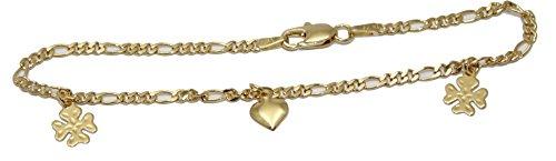 4Leaf Clover con colgante de corazón pulsera–4Leaf Clover pulsera 18K chapado en oro pulsera 7,5inch–enchape de oro