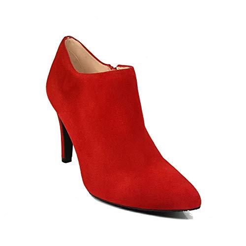 MALISO - Botines Salones Rojos Abotinados de Piel para Mujer con Punta Fina y Tacon Alto de 10 cm - Forro de Piel - Cierre Cremallera - Moda Tacones Stilettos Elegantes - Ante Rojo - Rojo 40 EU