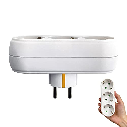 Adaptador Enchufe Pared, 3 Tomas sin Cable con Protección para Niños, Enchufes 3 en 1 Dispositivo Portátil para Pared, Oficina, Viajes a Casa (Blanco)