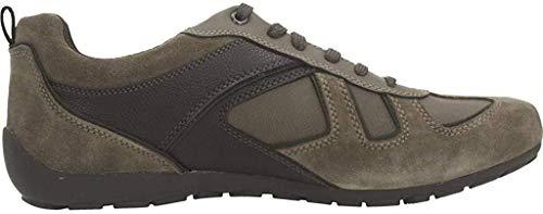 Geox Herren Low-Top Sneaker RAVEX, Männer Sneaker,Halbschuh,Sportschuh,Schnürschuh,atmungsaktiv,Dove Grey/DK Brown,41 EU / 7 UK