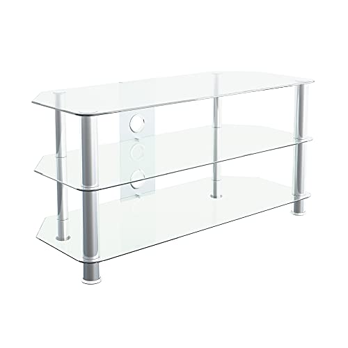 """mahara Glass TV Stand for HD LED LCD 4K 8K QLED TVs up to 50"""" inch by TV Furniture Direct (100cm, Clear Glass, Chrome Leg)"""