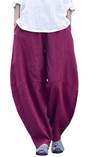 Happy Cherry Femme Pantalon Lin Coton Large Pants avec Poches Taille Unique Pantalon de Loisirs Yoga Sport Danse - Rouge Vineux